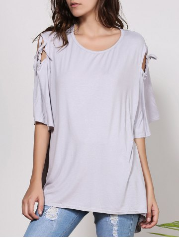 Sale Fashionable Scoop Neck Cut Out Solid Color Short Sleeve T-Shirt For Women