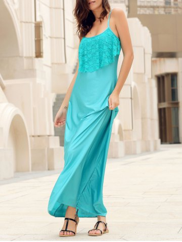 Cheap Spaghetti Strap Lace Trim Backless Floor Length Dress LIGHT BLUE L
