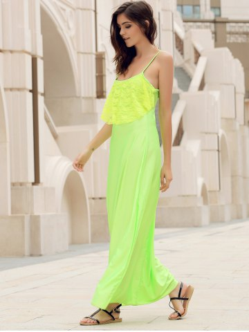 Fashion Long Slip Lace Trim Backless Floor Length Dress - S NEON GREEN Mobile