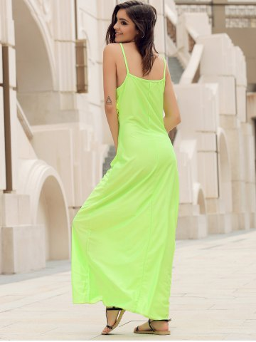 Chic Long Slip Lace Trim Backless Floor Length Dress - S NEON GREEN Mobile