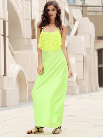 Fashion Long Slip Lace Trim Backless Floor Length Dress - NEON GREEN M Mobile