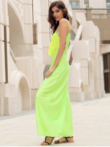 Sale Long Slip Lace Trim Backless Floor Length Dress - NEON GREEN M Mobile