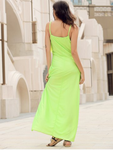 Chic Long Slip Lace Trim Backless Floor Length Dress - NEON GREEN M Mobile