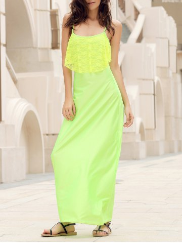 Fashion Long Slip Lace Trim Backless Floor Length Dress NEON GREEN L