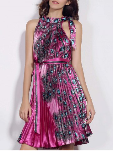 Buy Fashionable Stand Collar Sleeveless Printed Pleated Women's Dress