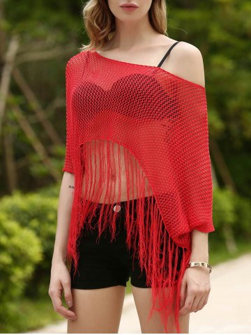 Sale Bohemian Scoop Neck Openwork Fringed Cover-Up Top For Women