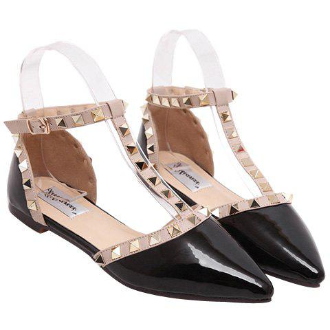 Shop Fashionable Patent Leather and T-Strap Design Flat Shoes For Women