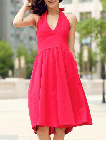 Sale Vintage Halter Solid Color Backless Flare Dress For Women