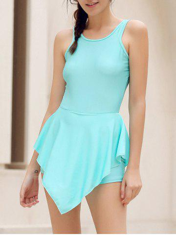 Alluring Round Neck Solid Color Hole Design Irregular Romper For Women - Lake Blue - S