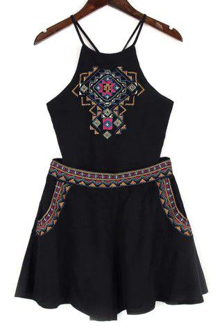 Store Trendy Spaghetti Straps Backless Tank Top and Embroidery Shorts Twinset For Women