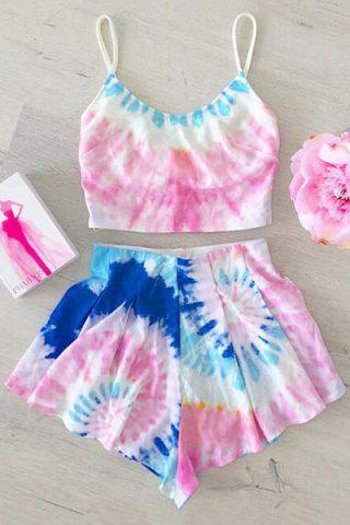 New Trendy Colored Cami Crop Top and Flouncy Shorts Women's Swimsuit