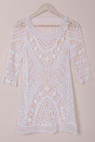 Buy Stylish Round Collar 3/4 Sleeve Cut Out Crochet Cover-Up For Women