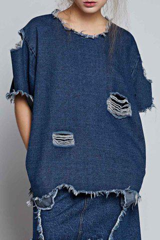Sale Ripped Denim Blouse