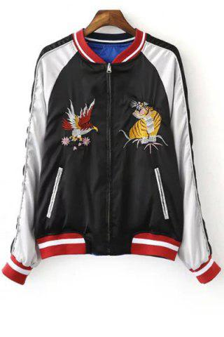 Store Chic Stand Neck Embroidered Reversible Women's Baseball Jacket BLUE/BLACK L