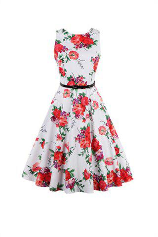 Affordable Sleeveless Floral 50s Swing Dress
