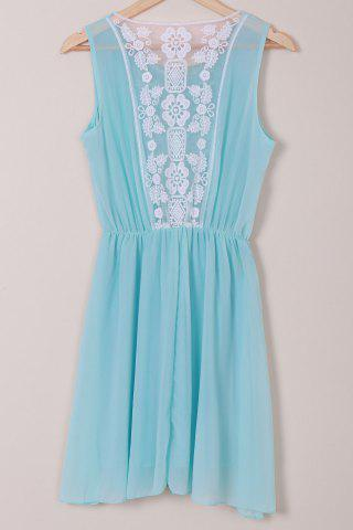 Trendy Stylish Scoop Neck Sleeveless Lace Spliced Chiffon Women's Dress