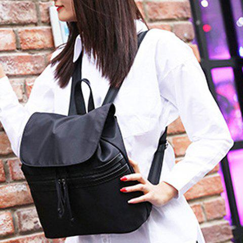 Latest Simple Color Block and Cover Design Satchel For Women - BLACK  Mobile