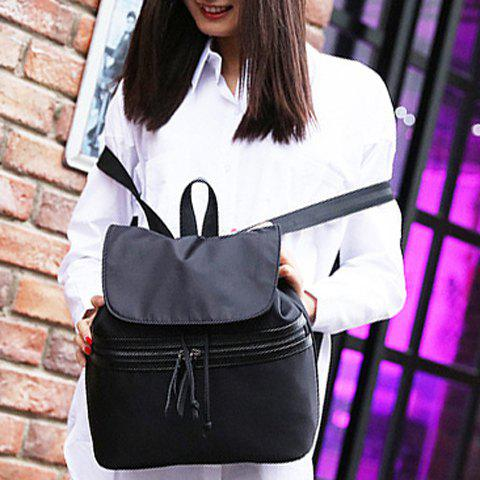 Chic Simple Color Block and Cover Design Satchel For Women - BLACK  Mobile