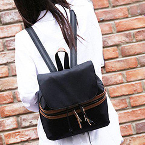 Affordable Simple Color Block and Cover Design Satchel For Women - BLACK  Mobile