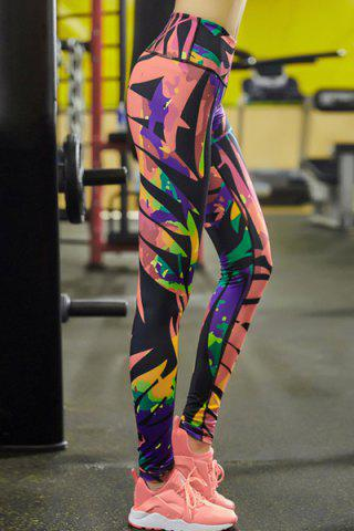 New Stylish Elastic Waist Colorful Printed Stretch Sport Pants For Women - M COLORMIX Mobile