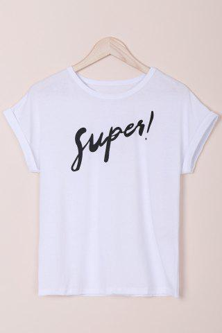 Shops Stylish Round Neck Short Sleeves Letter Women's T-Shirt
