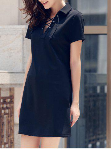 Outfits Preppy Style Lace-Up Short Sleeve Black Dress For Women BLACK S