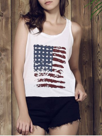 Discount Distressed American Flag Print Patriotic Tank Top - M WHITE Mobile