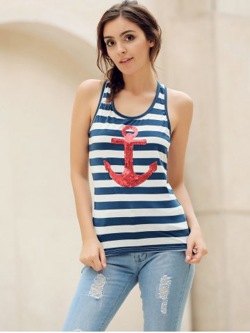 Shop Sequins Anchor Striped Tank Top - L RED Mobile