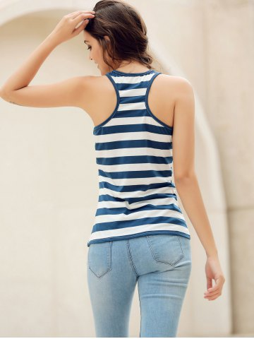 Unique Sequins Anchor Striped Tank Top - L RED Mobile