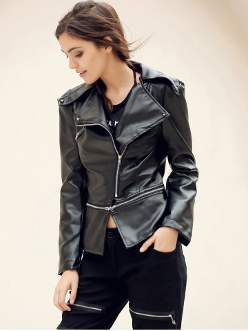 Store Fashionable Turn-Down Collar Zippered Long Sleeve PU Leather Jacket For Women - XL BLACK Mobile