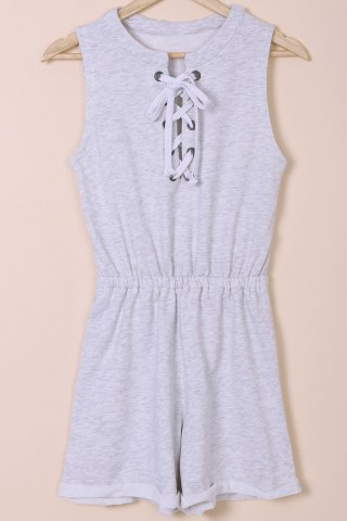 Casual Round Neck Sleeveless Solid Color Lace-Up Romper For Women - Light Gray - S