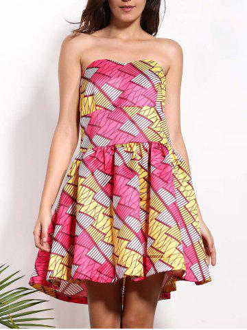 Strapless Colorful Short A Line Formal Dress - Red - Xl