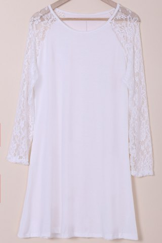 Sale Plus Size Long Sleeve Shift Dress with Lace WHITE 3XL