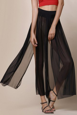 Trendy Stylish Low-Waisted Solid Color High Slit Skirt for Women