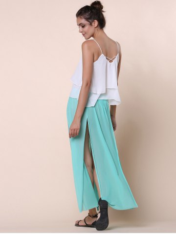 Outfit Stylish Low-Waisted Solid Color High Slit Skirt for Women - ONE SIZE(FIT SIZE XS TO M) GREEN Mobile