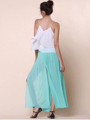 Store Stylish Low-Waisted Solid Color High Slit Skirt for Women - ONE SIZE(FIT SIZE XS TO M) GREEN Mobile