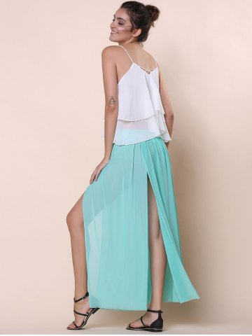 Fancy Stylish Low-Waisted Solid Color High Slit Skirt for Women - ONE SIZE(FIT SIZE XS TO M) GREEN Mobile