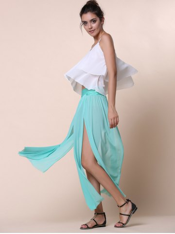 Shops Stylish Low-Waisted Solid Color High Slit Skirt for Women - ONE SIZE(FIT SIZE XS TO M) GREEN Mobile