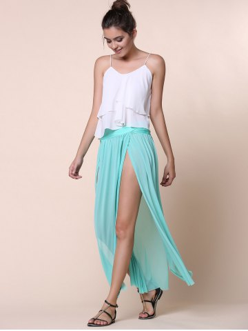 Best Stylish Low-Waisted Solid Color High Slit Skirt for Women - ONE SIZE(FIT SIZE XS TO M) GREEN Mobile