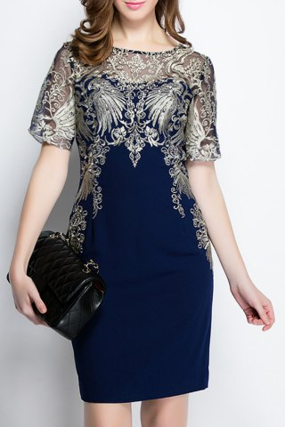 Embroidered See-Through Dress - Purplish Blue - S