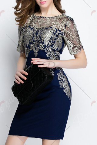 Shops Embroidered See-Through Dress - S PURPLISH BLUE Mobile