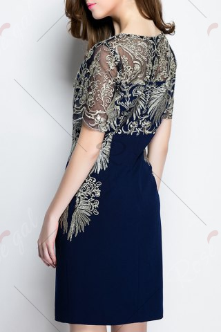 Outfit Embroidered See-Through Dress - S PURPLISH BLUE Mobile