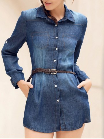 Latest Denim Button Up Mini Shirt Dress with Pockets - XL BLUE Mobile