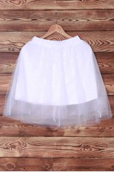Elastic Waist Layered Tulle Skirt - WHITE
