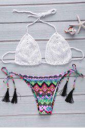 Trendy Crochet Bra and Printed Briefs Halter Bikini Set For Women