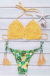 Endearing Sunflower Printed Halter Crochet Bikini Suit For Women