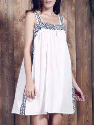 Brief Spaghetti Strap Print Summer Dress For Women - WHITE