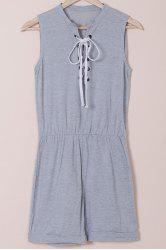 Casual Style Jewel Neck Sleeveless Gray Lace-Up Women's Romper - GRAY M