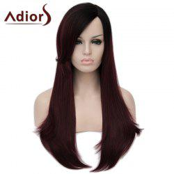 Shaggy Natural Straight Capless Stunning Black Ombre Wine Red Long Synthetic Wig For Women -