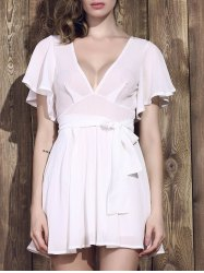 Sexy Plunging Neck Half Sleeve Low-Cut White Dress For Women